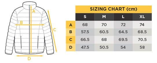 Komodo Jacket Size Chart