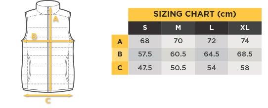 Komodo Vest Size Chart