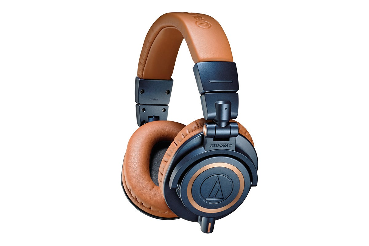 Over & On-Ear Headphones - Audio-Technica ATH-M50xBL Professional Headphones (Blue/Brown)