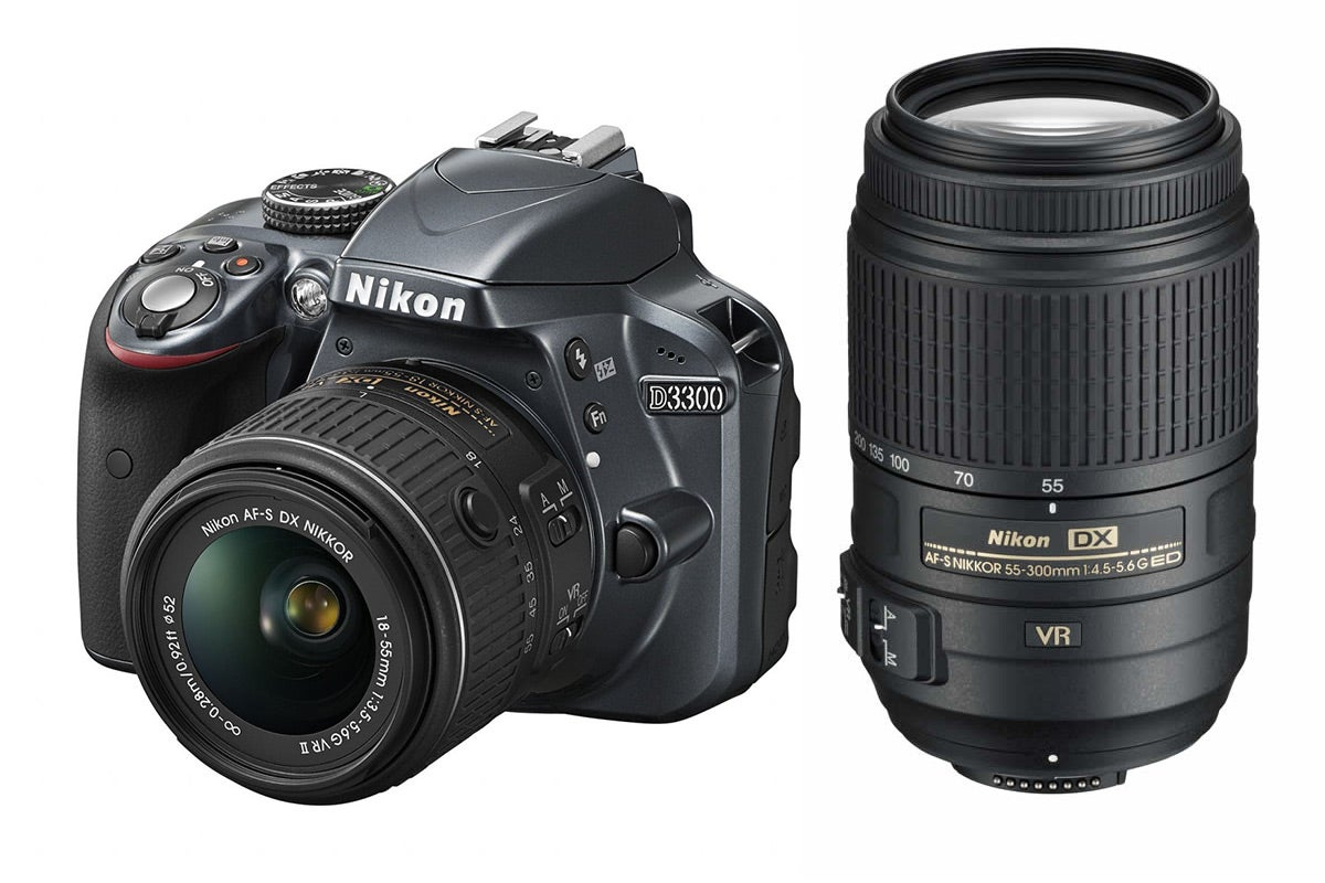 DSLR Cameras - Nikon D3300 DSLR Camera 18-55mm VR II & 55-300mm VR Twin Lens Kit