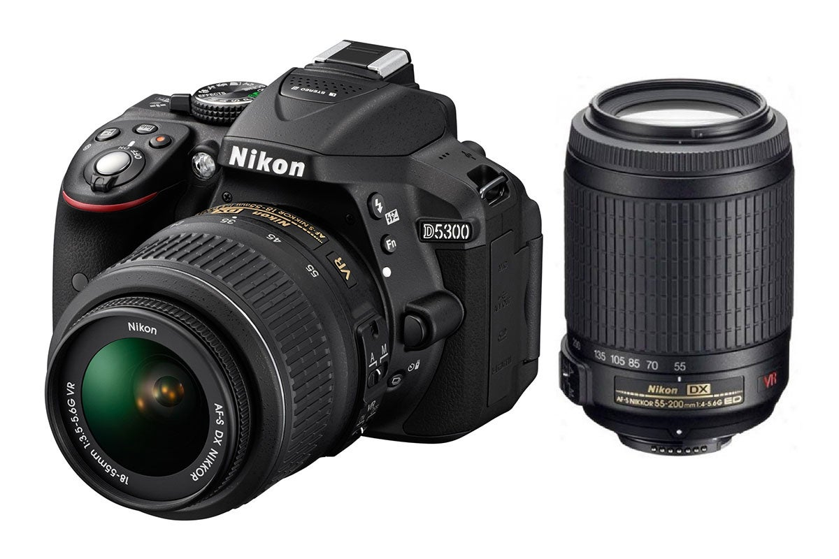 DSLR Cameras - Nikon D5300 DSLR Camera 18-55mm & 55-200mm Twin VR Lens Kit (Black)