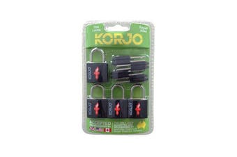 Korjo TSA Keyed Locks - Black (4 Pack)
