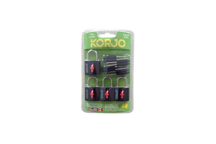 Korjo TSA Keyed Locks - Black (4 Pack)