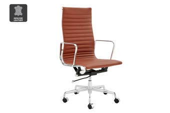 Matt Blatt Replica Eames Group Standard Aluminium High Back Office Chair (Tan Leather)