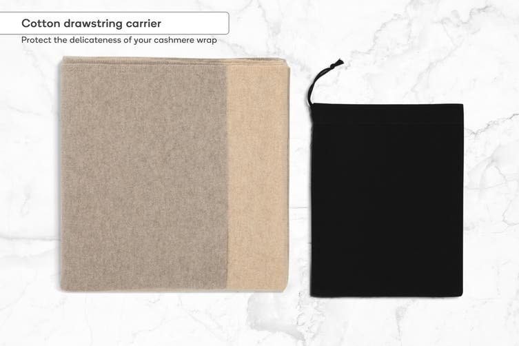 100% Mongolian Cashmere Wrap Two Tone (Biscuit)