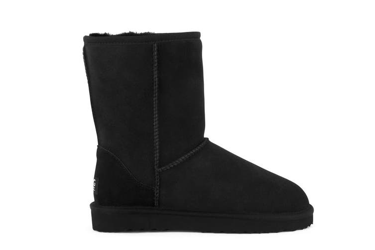 Outback Ugg Boots Short Classic - Premium Double Face Sheepskin (Black, Size 6M / 7W US)