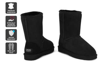 Outback Ugg Boots Short Classic - Premium Sheepskin (Black)