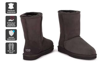 Outback Ugg Boots Short Classic - Premium Double Face Sheepskin (Chocolate)