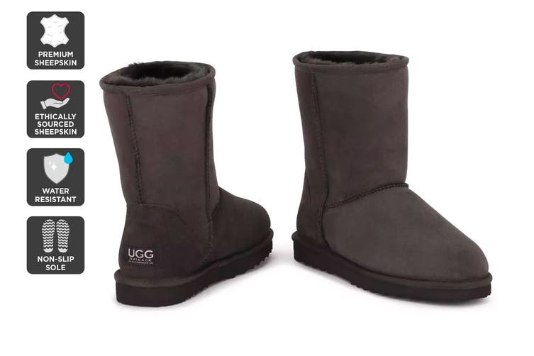 Outback Ugg Boots Short Classic - Premium Double Face Sheepskin (Chocolate, Size 11M / 12W US)