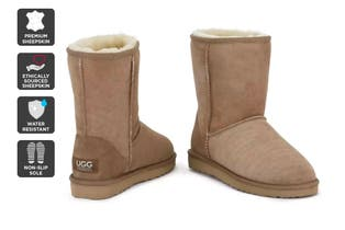 Outback Ugg Boots Short Classic - Premium Double Face Sheepskin (Chestnut, Size 10M / 11W US)