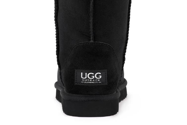 Outback Ugg Boots Long Classic - Premium Double Face Sheepskin (Black, 12M / 13W US)