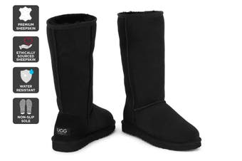 Outback Ugg Boots Long Classic - Premium Double Face Sheepskin (Black)