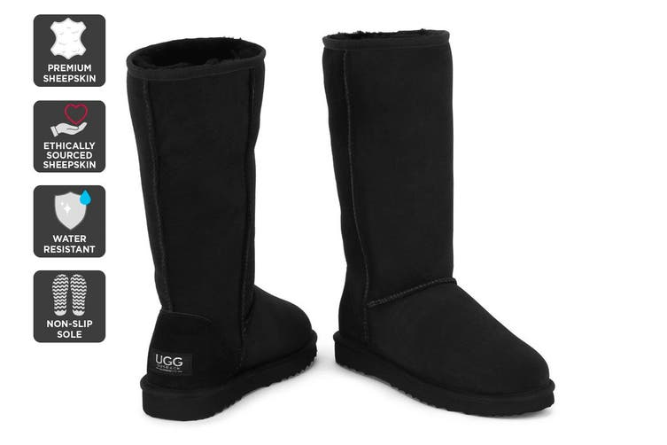 Outback Ugg Boots Long Classic - Premium Double Face Sheepskin (Black, Size 6M / 7W US)