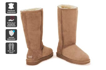 Outback Ugg Boots Long Classic - Premium Double Face Sheepskin (Chestnut, Size 5M / 6W US)