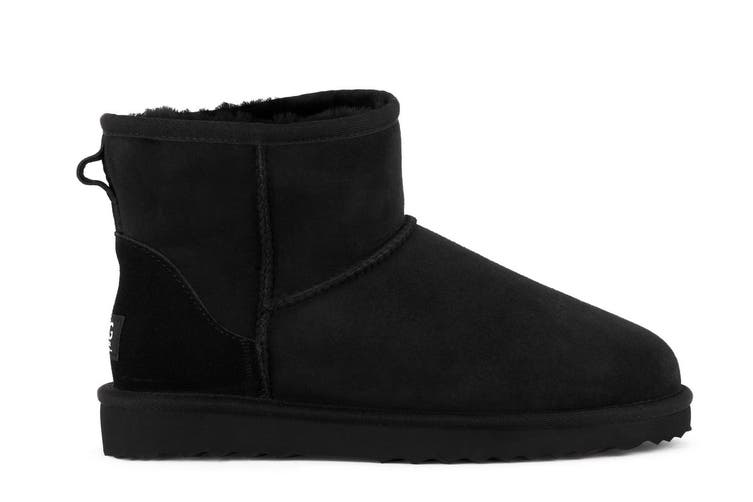 Outback Ugg Boots Mini Classic - Premium Double Face Sheepskin (Black, Size 5M / 6W US)