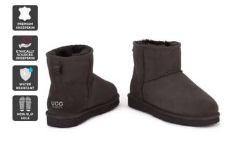 Outback Ugg Boots Mini Classic - Premium Double Face Sheepskin (Chocolate, Size 8M / 9W US)