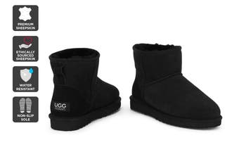 Outback Ugg Boots Mini Classic - Premium Double Face Sheepskin (Black)