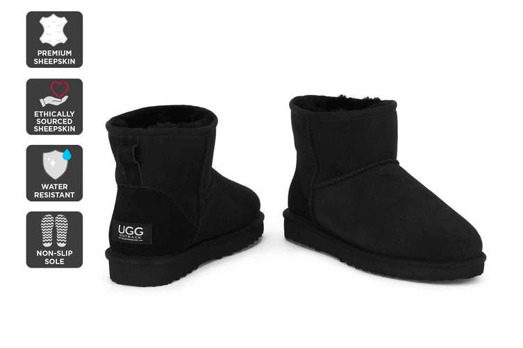 Outback Ugg Boots Mini Classic - Premium Double Face Sheepskin (Black, Size 4M / 5W US)