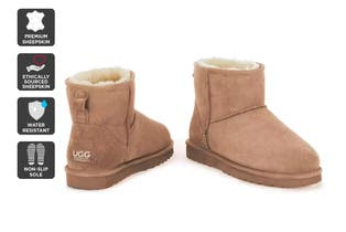 Outback Ugg Boots Mini Classic - Premium Double Face Sheepskin (Chestnut, Size 6M / 7W US)