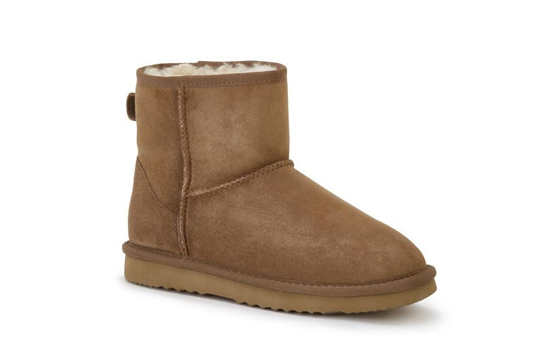 Outback Ugg Boots Mini Classic - Premium Double Face Sheepskin (Chestnut, 13M / 14W US)