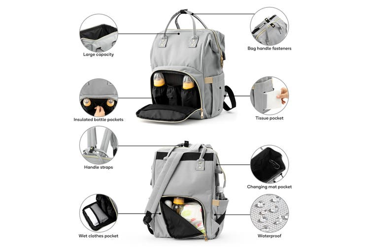 Orbis Nappy Diaper Bag with USB Charging Port (Grey)