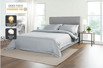 Trafalgar 1500TC Cotton Rich Luxury Quilt Cover Set (Pale Grey)