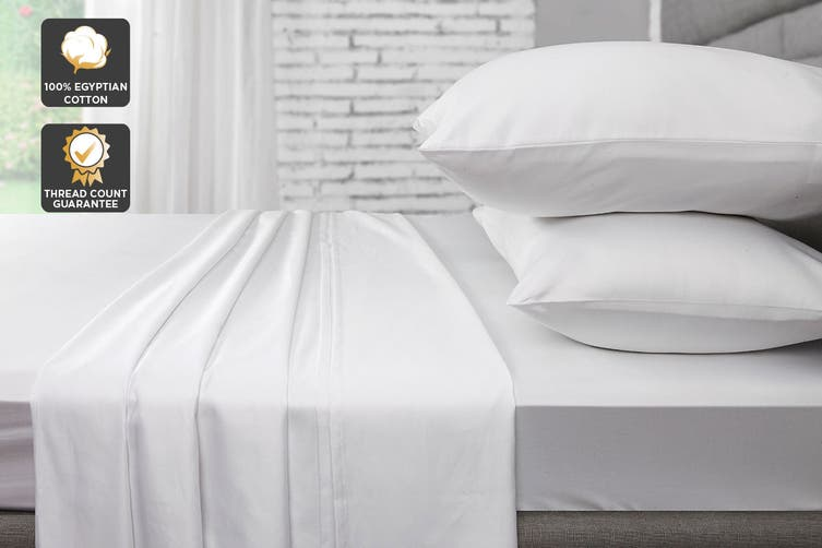 Ovela 1000TC 100% Egyptian Cotton Bed Sheet Set (Queen, White)