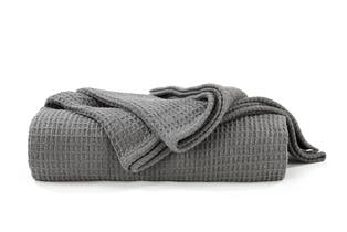 Ovela Cotton Waffle Weave Blanket (Queen/King, Charcoal)