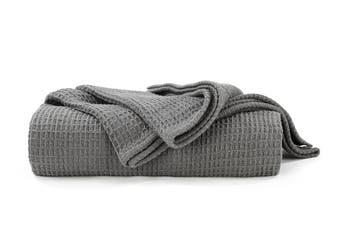 Ovela Cotton Waffle Weave Blanket (Charcoal)