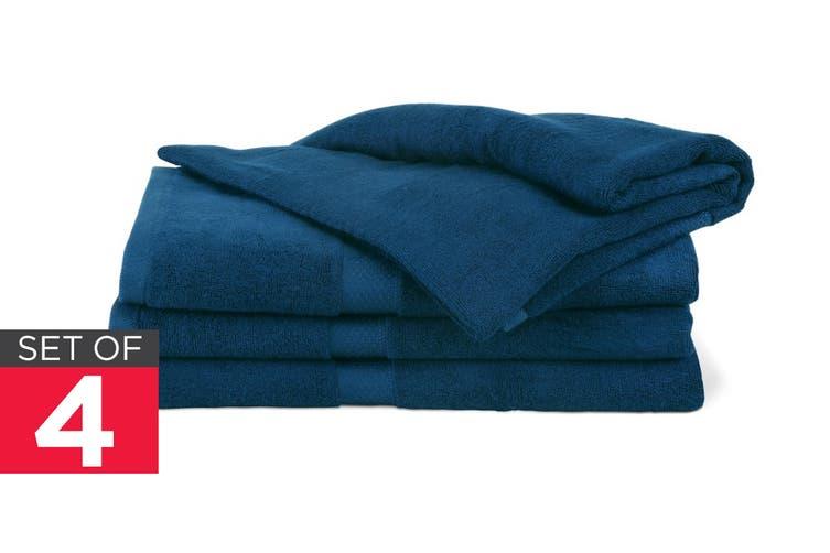Ovela Set of 4 Bamboo Cotton Luxury Bath Sheets (Moonlight Blue)