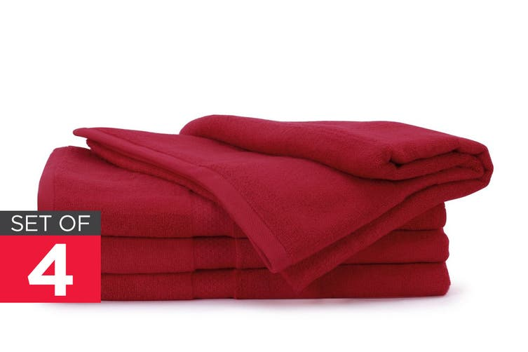 Ovela Set of 4 Bamboo Cotton Luxury Bath Sheets (Crimson Red)