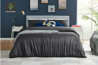 Ovela 100% Natural Bamboo Quilt Cover Set (Queen, Charcoal)