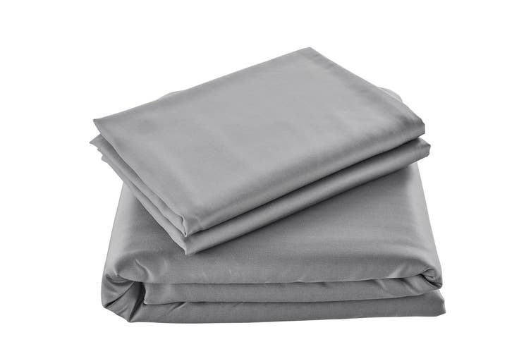 Ovela 100% Natural Bamboo Quilt Cover Set (Queen, Silver)