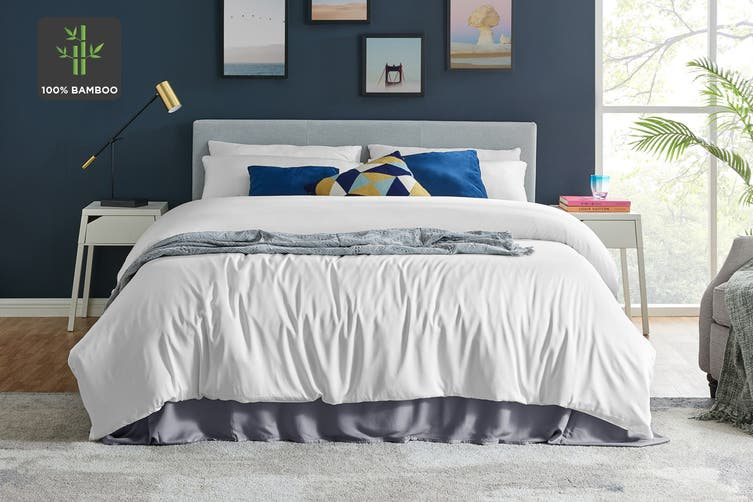 Ovela 100% Natural Bamboo Quilt Cover Set (Queen, White)