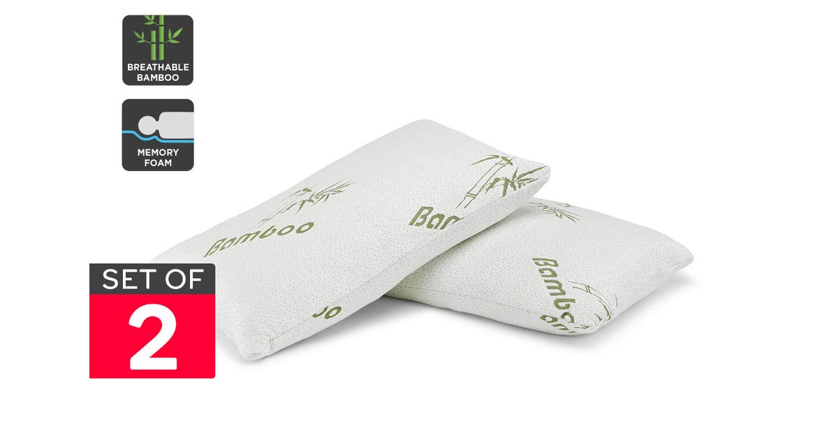 ovela set of 2 bamboo luxury memory foam pillows standard pillows