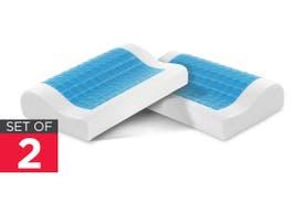 Ovela Set of 2 Cooling Gel Top Memory Foam Contoured Pillows