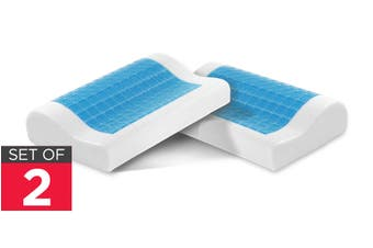 Ovela Set of 2 Cooling Gel Top Memory Foam Contoured Pillows