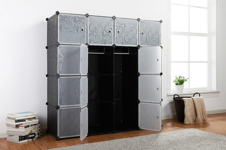 Ovela 16 Cube Modular Storage Organiser (Black)