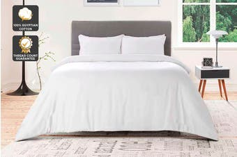 Ovela 1000TC 100% Egyptian Cotton Quilt Cover Set (King, White)