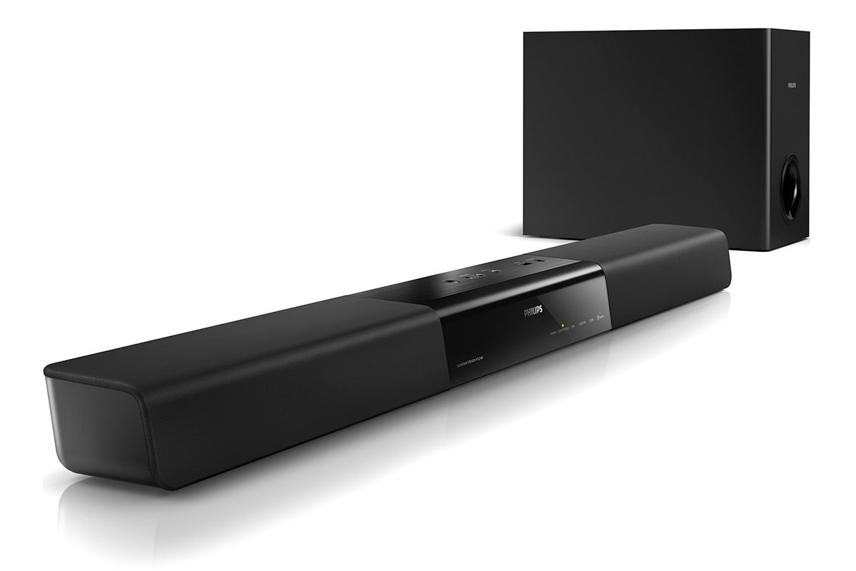 Home Theatre - Philips Soundbar Speaker with External Subwoofer and Virtual Surround (HTL2160)