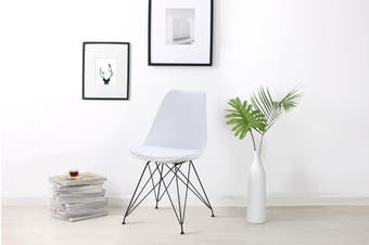 Shangri-La Set of 2 DSR Dining Chairs - Eames Replica (White/Black)