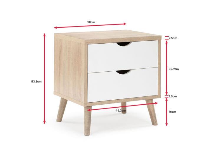 Shangri-La 2 Drawer Bedside Table - Nyhavn Collection (White & Oak)