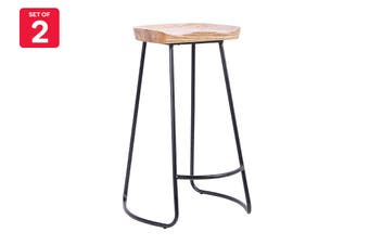 Shangri-la Set of 2 Inala Wood Stool