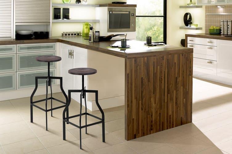 Shangri-La Set of 2 Turner Timber Top Industrial Stools