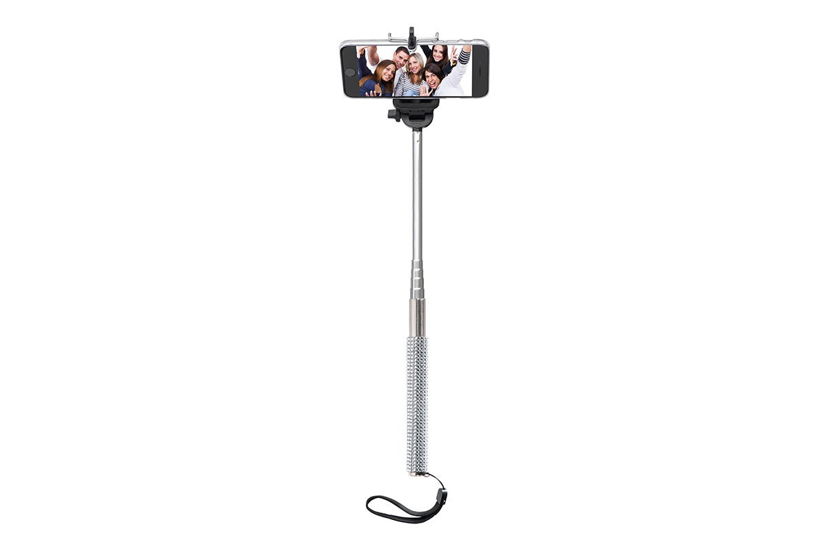 Tripods & Mounts - Bling Selfie Stick with Bluetooth Remote (White)