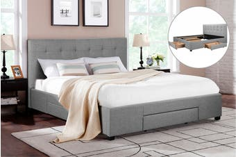 Shangri-La Bed Frame - Manarola 3 Drawer Collection (Grey, Double)