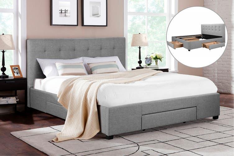 Shangri-La Bed Frame - Manarola 3 Drawer Collection (Grey, Queen)