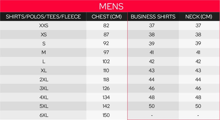 King Gee Men's Tops Sizing Chart