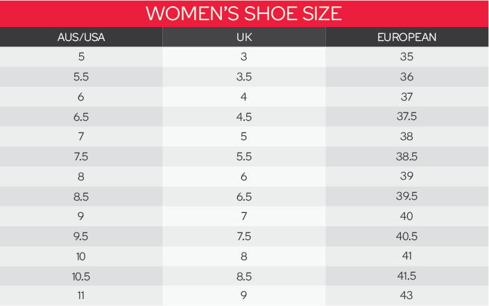 King Gee Women's Shoe Size Chart