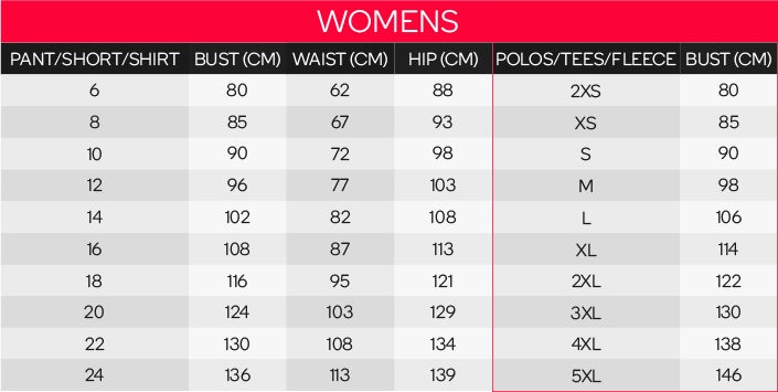 King Gee Women's Clothing Sizing Chart